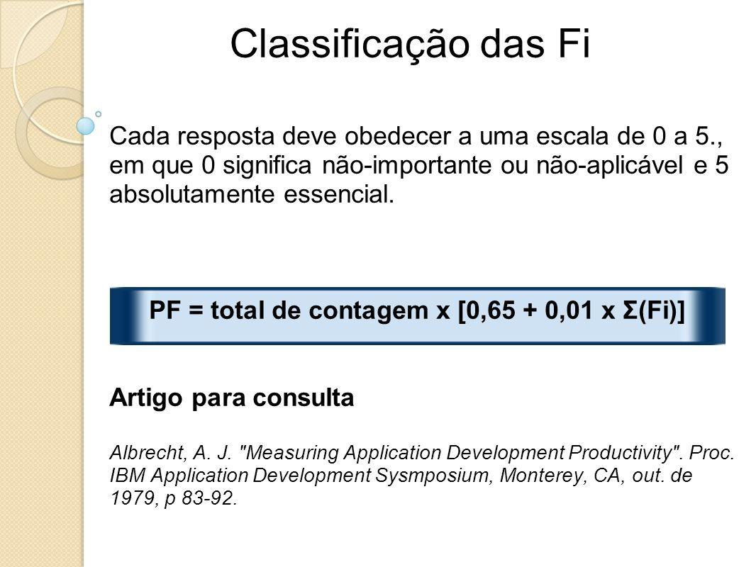 PF = total de contagem x [0,65 + 0,01 x Σ(Fi)]
